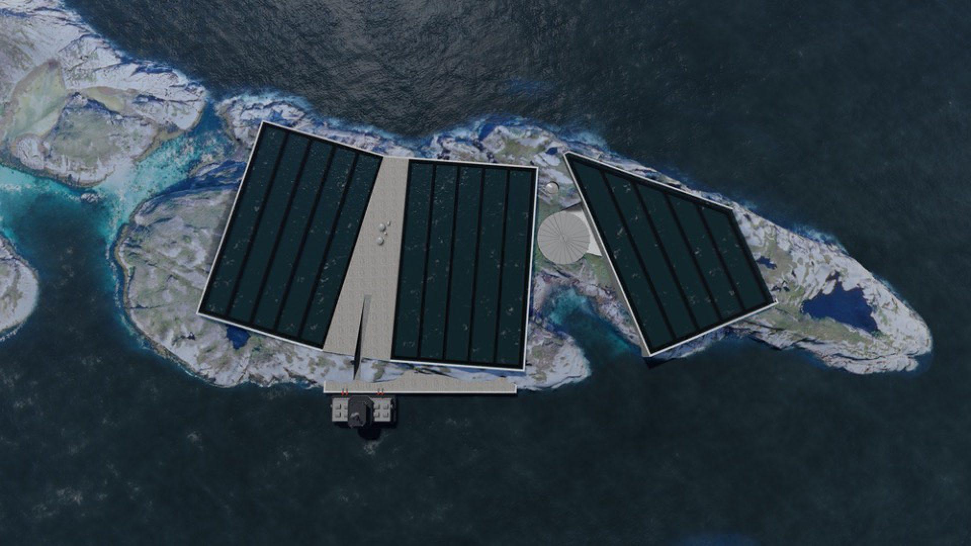 Dronebilde av tre basseng.